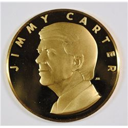 "24 Kt .999 GOLD 1977 ""OFFICIAL INAUGURAL PROOF LIKE MEDAL JIMMY CARTER, .41 AGW"