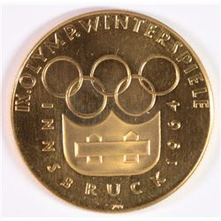 1964 GERMANY INNSBRUCK OLYMPIC MEDAL .900 .51 Oz AGW