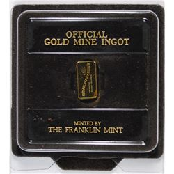 FRANKLIN MINT OFFICIAL GOLD MINE INGOT 24K GOLD 2.65 GRAMS