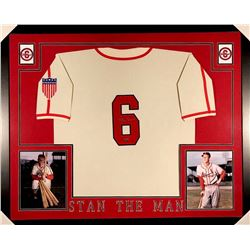 Stan Musial Signed Cardinals 35x43 Custom Framed Jersey (Musial COA)