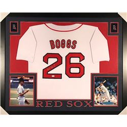 "Wade Boggs Signed Red Sox 35x43 Custom Framed Jersey ""HOF 05"" (JSA COA)"
