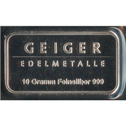 10 Gram Geiger Security Line Silver Bar