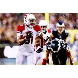 "David Johnson Signed Cardinals 20x30 Photo on Canvas Inscribed ""12/20/15 VS. Eagles 229 Total yds 3T"