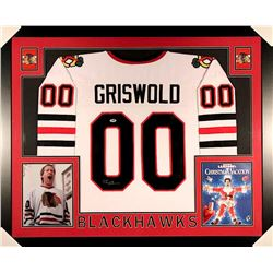 Chevy Chase Signed Griswold Blackhawks 35x43 Custom Framed Jersey (PSA COA)
