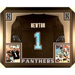Cam Newton Signed Panthers 35x43 Custom Framed Jersey (JSA COA)