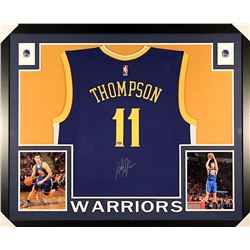 Klay Thompson Signed Warriors 35x43 Custom Framed Jersey (Fanatics)