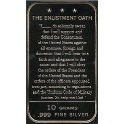 "10 Grams .999 Silver ""The Enlistment Oath"" Bullion Bar"