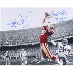 "Dwight Clark Signed 49ers ""The Catch"" 16x20 Photo with Hand-Drawn Play Inscribed ""The Catch"" & ""1-10"