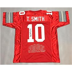 "Troy Smith Signed Ohio State Career Highlight Stat Jersey Inscribed ""HT 06"" (JSA COA)"