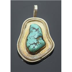 Southwest Sterling Silver Turquoise Pendant