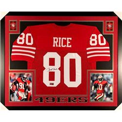 Jerry Rice Signed 49ers 35x43 Custom Framed Jersey (GTSM)