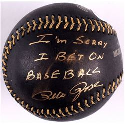 "Pete Rose Signed Black OML Baseball Inscribed ""I'm Sorry I Bet On Baseball"" (PSA COA)"