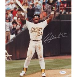 "Rickey Henderson Signed Athletics 10x12 Photo Inscribed ""939"" (JSA COA)"