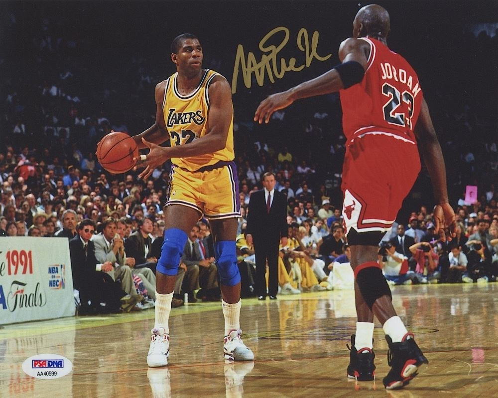 Magic Johnson Signed Lakers 1991 NBA Finals 8x10 vs Michael