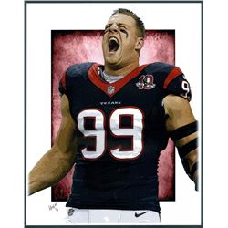 JJ Watt Texans Limited Edition 11x14 Signed Art Print by Jeff Lang (Artist Proof #3/3)