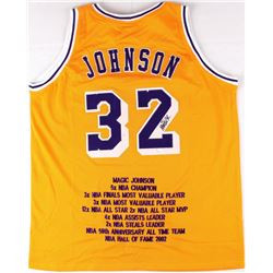 Magic Johnson Signed Lakers Career Highlight Stat Jersey (JSA COA)