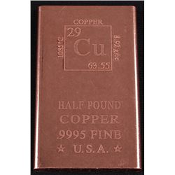 1/2 Pound Fine Copper Bullion Bar