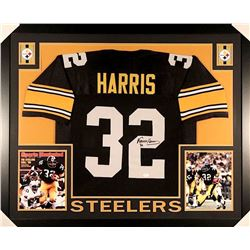 Franco Harris Signed Steelers 35x43 Custom Framed Jersey (JSA COA)