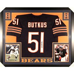 Dick Butkus Signed Bears 35x43 Custom Framed Jersey (JSA COA)