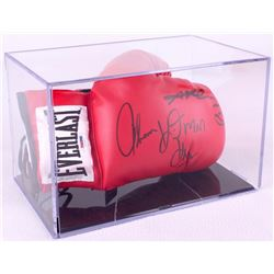 "Sugar Ray Leonard & Thomas ""Hitman"" Hearns Signed Everlast Boxing Glove with Display Case (PSA COA)"