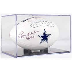 "Roger Staubach Signed Cowboys Logo Football Inscribed ""HOF 85"" with Display Case (PSA COA)"