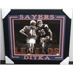 Mike Ditka & Gale Sayers Signed Bears 23x27 Custom Framed Photo (JSA COA)