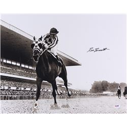 "Ron Turcotte Signed 16x20 Photo ""Looking Back"" on Secretariat at Belmont Stakes (PSA COA)"