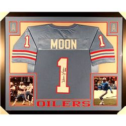 "Warren Moon Signed Oilers 35x43 Custom Framed Jersey Inscribed ""HOF 06"" (JSA COA)"