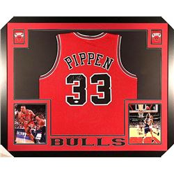 Scottie Pippen Signed Bulls 35x43 Custom Framed Jersey (JSA COA)