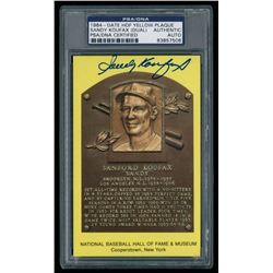 Sandy Koufax Dual-Signed Gold HOF Postcard (PSA Encapsulated)