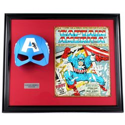 "Stan Lee Signed ""Captain America"" 22x26x5 Custom Framed Mask Display (PSA COA)"