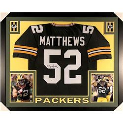 Clay Matthews Signed Packers 35x43 Custom Framed Jersey (JSA COA)