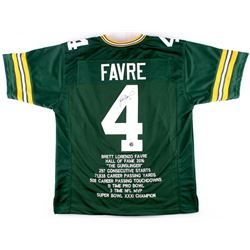 Brett Favre Signed Packers Career Highlight Hall of Fame 2016 Stat Jersey (JSA COA & Favre COA)