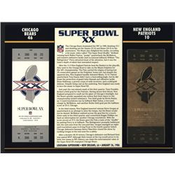 Commemorative Super Bowl XX Score Card With 22 Kt Gold Ticket: Bears vs. Patriots