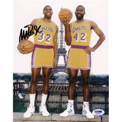 Magic Johnson Signed Lakers 8x10 Photo with James Worthy (PSA COA)