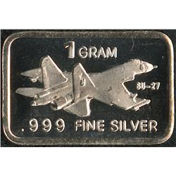 1 Gram .999 Silver Russian Sukhoi Su-27 Bullion Bar