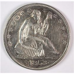 1853 ARROWS AND RAYS SEATED LIBERTY HALF DOLLAR AU