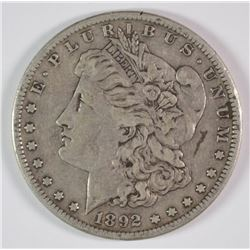1892-S MORGAN DOLLAR XF MARK ON FACE