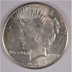 1924-S PEACE DOLLAR BU+ WHITE