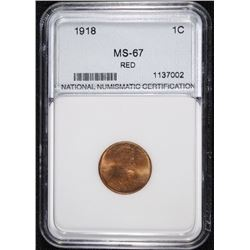 1918 LINCOLN CENT, NNC, SUPERB GEM BU RED