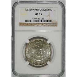 1952-D WASHINGTON CARVER HALF DOLLAR, NGC MS-65