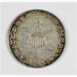 1853 3 CENT SILVER CH BU TONED