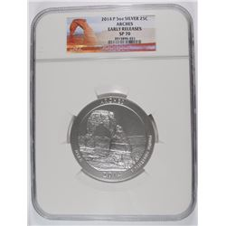 2014 (5 OZT .999 FS) ARCHES NGC SP-70 (EARLY RELEASE)