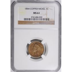1864 COPPER NICKEL INDIAN HEAD CENT, NGC MS-61