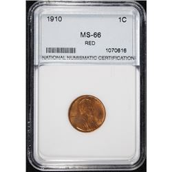 1910 LINCOLN CENT, NNC GRADED GEM BU RED