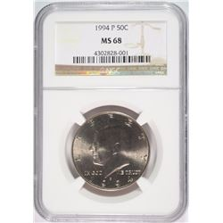 1994-P KENNEDY HALF DOLLAR, NGC MS-68! POPULATION OF (6) NONE HIGHER