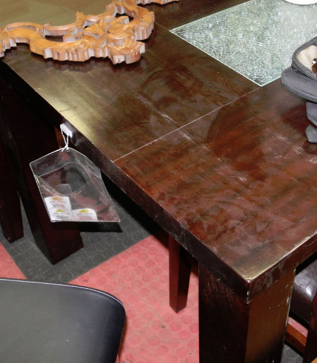 Kitchen table with crackled glass insert for Kitchen table with insert