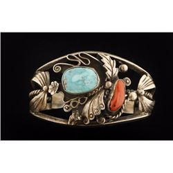 Heavy Cuff with Turquoise & Coral