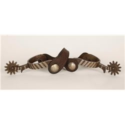 Unmarked Silver Inlaid Spurs