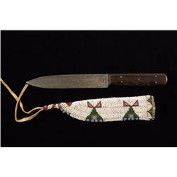Beaded Knife Scabbard with Trade Knife